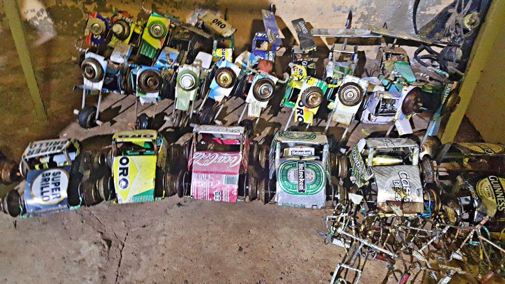 Toy cars and Bicycles made from cans